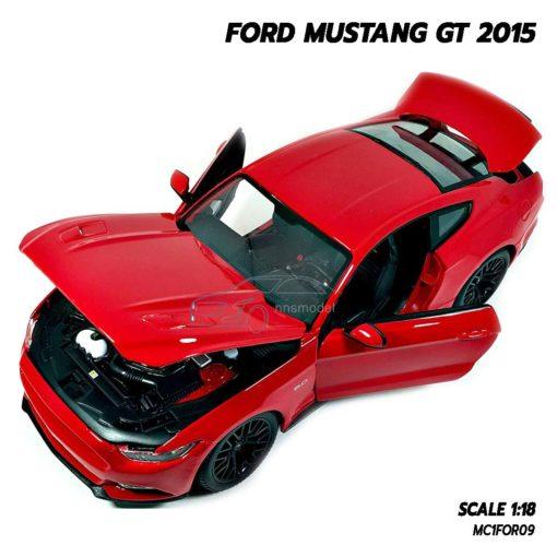 โมเดลมัสแตง FORD MUSTANG GT 2015 สีแดง (Scale 1:18) เปิดได้ครบ