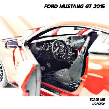 โมเดลมัสแตง FORD MUSTANG GT 2015 สีแดง (Scale 1:18) ภายในรถจำลองเหมือนจริง