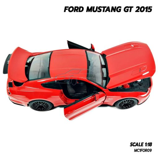 โมเดลมัสแตง FORD MUSTANG GT 2015 สีแดง (Scale 1:18) โมเดลรถเหมือนจริง เปิดได้ครบ