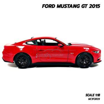 โมเดลมัสแตง FORD MUSTANG GT 2015 สีแดง (Scale 1:18) โมเดลรถเหมือนจริง พร้อมฐานตั้งโชว์