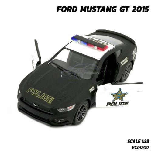 โมเดลรถตำรวจ ฟอร์ดมัสแตง GT 2015 (Scale 1:38) รถเหล็ก เปิดประตูซ้ายขวาได้