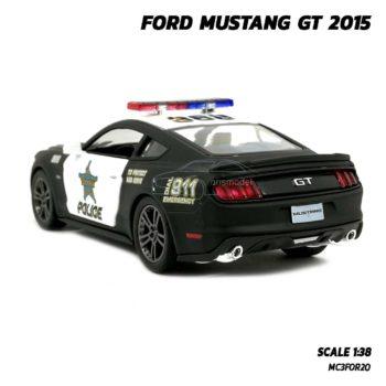 โมเดลรถตำรวจ ฟอร์ดมัสแตง GT 2015 (Scale 1:38) รถเหล็กโมเดล ล้อยางหมุนได้
