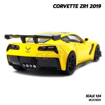 โมเดลรถ CORVETTE ZR1 2019 สีเหลือง (Scale 1:24) โมเดลรถสปอร์ต ประกอบสำเร็จ
