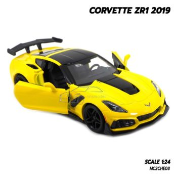 โมเดลรถ CORVETTE ZR1 2019 สีเหลือง (Scale 1:24) โมเดลรถสปอร์ต พร้อมตั้งโชว์