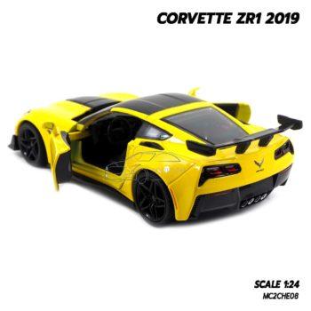 โมเดลรถ CORVETTE ZR1 2019 สีเหลือง (Scale 1:24) โมเดลรถสปอร์ต พร้อมตั้งโชว์ รุ่นขายดี