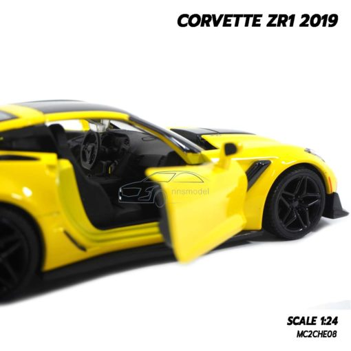 โมเดลรถ CORVETTE ZR1 2019 สีเหลือง (Scale 1:24) โมเดลรถสปอร์ต ภายในรถจำลองสมจริง