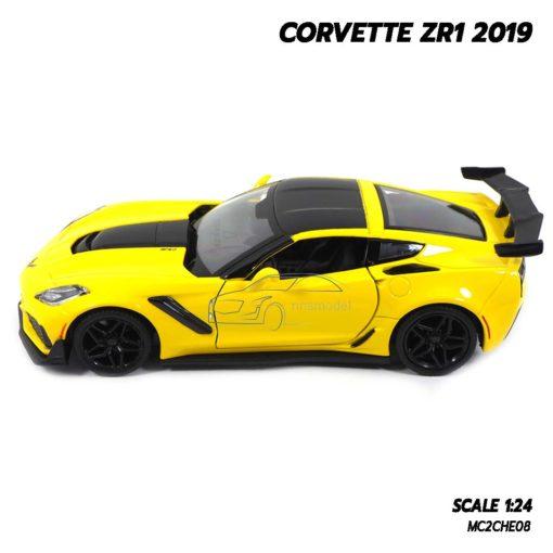 โมเดลรถ CORVETTE ZR1 2019 สีเหลือง (Scale 1:24) โมเดลรถสะสม พร้อมตั้งโชว์
