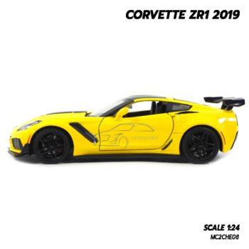 โมเดลรถ CORVETTE ZR1 2019 สีเหลือง (Scale 1:24) โมเดลรถสะสม Diecast Model