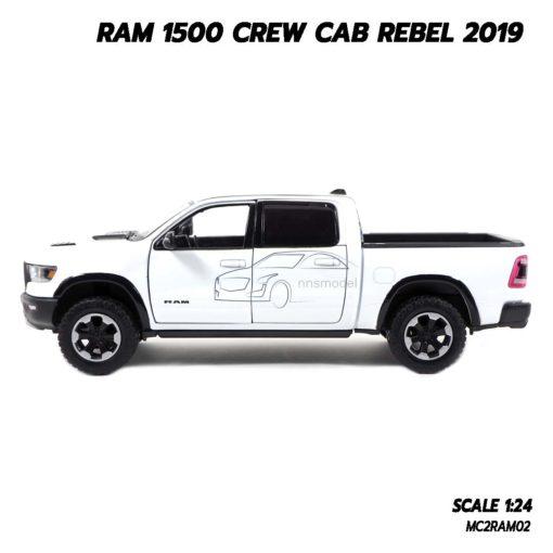 โมเดลรถกระบะ RAM 1500 CREW CAB REBEL 2019 สีขาว (1:24) ของขวัญสำหรับคนพิเศษ