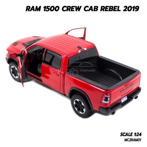 โมเดลรถกระบะ RAM 1500 CREW CAB REBEL 2019 สีแดง (1:24) รถโมเดลจำลองเหมือนจริง