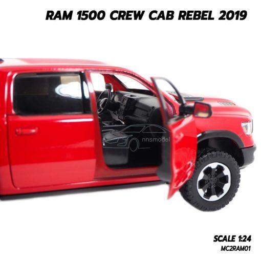 โมเดลรถกระบะ RAM 1500 CREW CAB REBEL 2019 สีแดง (1:24) โมเดลลิขสิทธิ