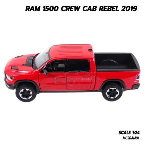 โมเดลรถกระบะ RAM 1500 CREW CAB REBEL 2019 สีแดง (1:24) รถโมเดลประกอบสำเร็จ
