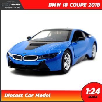 โมเดลรถ BMW i8 COUPE 2018 สีฟ้า (Scale 1:24)