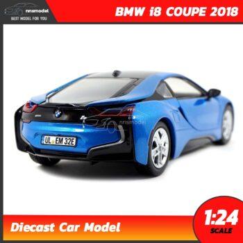 โมเดลรถ BMW i8 COUPE 2018 สีฟ้า (Scale 1:24) รถเหล็กโมเดล จำลองเหมือนจริง
