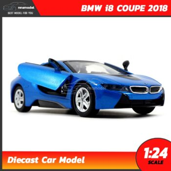 โมเดลรถ BMW i8 COUPE 2018 สีฟ้า (Scale 1:24) รถเหล็กโมเดล จำลองเหมือนจริง เปิดประตูปีกนกได้