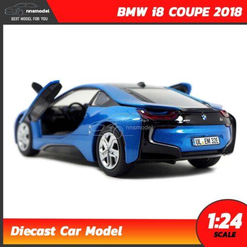 โมเดลรถ BMW i8 COUPE 2018 สีฟ้า (Scale 1:24) รถเหล็กโมเดล ภายในรถจำลองเหมือนจริง
