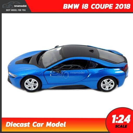 โมเดลรถ BMW i8 COUPE 2018 สีฟ้า (Scale 1:24) โมเดลรถสะสม Motormax