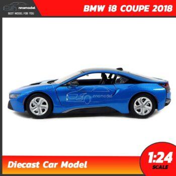 โมเดลรถ BMW i8 COUPE 2018 สีฟ้า (Scale 1:24) โมเดลรถสะสม Diecast Model Motormax