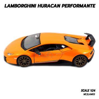 โมเดล LAMBORGHINI HURACAN PERFORMANTE สีส้ม (1:24) รถเหล็กประกอบสำเร็จ