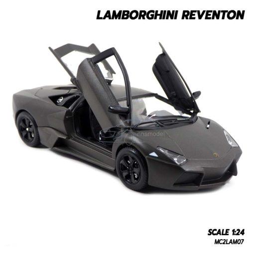 โมเดลรถ Lamborghini Reventon สีเทาดำ (1:24) เปิดประตูปีกนกได้