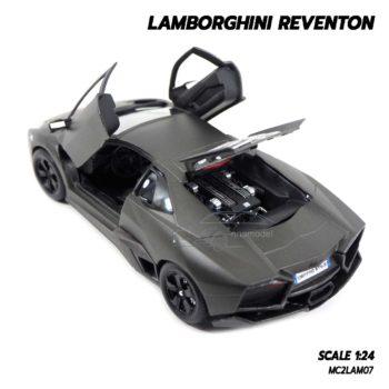 โมเดลรถ Lamborghini Reventon สีเทาดำ (1:24) เปิดฝากระโปรงท้ายรถได้