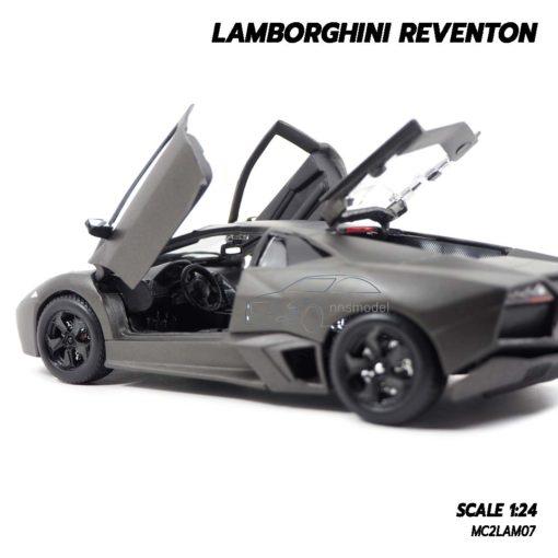 โมเดลรถ Lamborghini Reventon สีเทาดำ (1:24) ภายในรถจำลองเหมือนจริง
