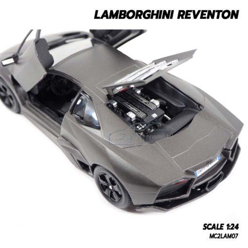 โมเดลรถ Lamborghini Reventon สีเทาดำ (1:24) เครื่องยนต์จำลองเหมือนจริง