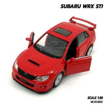 โมเดลรถ SUBARU WRX STI สีแดง (1:36) มีลานดึงปล่อยรถวิ่งได้
