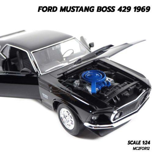 โมเดลฟอร์ดมัสแตง Ford Mustang Boss 429 1969 สีดำ (Scale 1/24) เครื่องยนต์จำลองเหมือนจริง