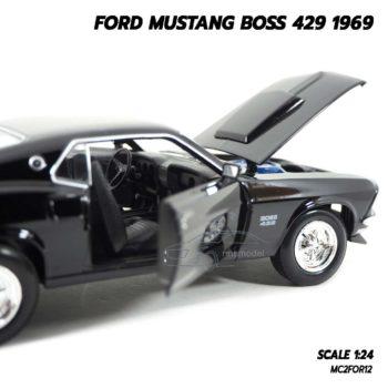 โมเดลฟอร์ดมัสแตง Ford Mustang Boss 429 1969 สีดำ (Scale 1/24) เปิดประตูรถซ้ายขวาได้