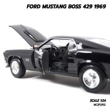 โมเดลฟอร์ดมัสแตง Ford Mustang Boss 429 1969 สีดำ (Scale 1/24) ภายในรถจำลองเหมือนจริง