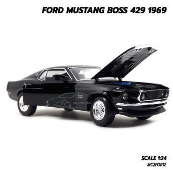 โมเดลฟอร์ดมัสแตง Ford Mustang Boss 429 1969 สีดำ (Scale 1/24) เปิดฝากระโปรงหน้ารถได้