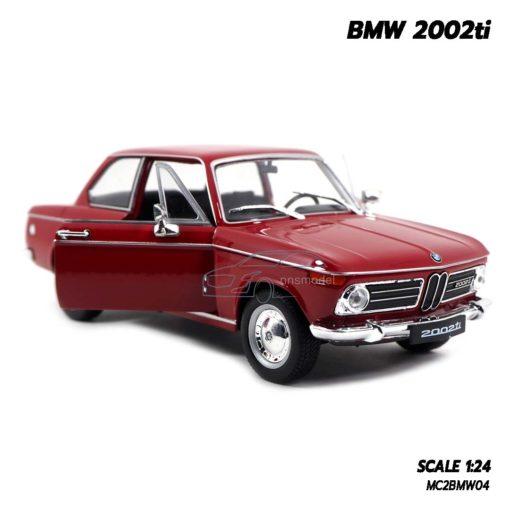 โมเดลรถคลาสสิค BMW 2002ti สีแดง (Scale 1/24) เปิดประตูรถซ้ายขวาได้
