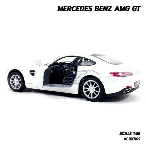 โมเดลรถเบนซ์ MERCEDES BENZ AMG GT (1:36) สีขาว เปิดประตูรถซ้ายขวาได้