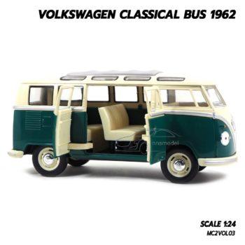โมเดลรถ โฟล์คหน้าวี 1962 volkswagen bus สีเขียว (1:24) โมเดลรถ โฟล์คหน้าวี เปิดประตูรถได้
