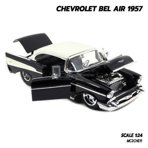 โมเดลรถ CHEVROLET BEL AIR 1957 สีดำ (Scale 1:24) โมเดลรถคลาสสิคเหมือนจริง