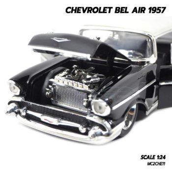 โมเดลรถ CHEVROLET BEL AIR 1957 สีดำ (Scale 1:24) จำลองเครื่องยนต์เหมือนจริง