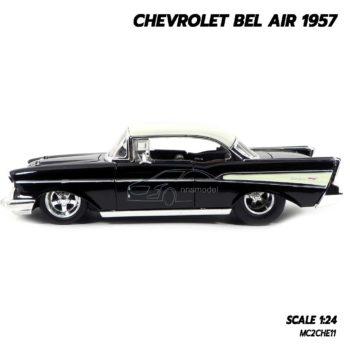 โมเดลรถ CHEVROLET BEL AIR 1957 สีดำ (Scale 1:24) โมเดลรถเหล็ก น่าสะสม
