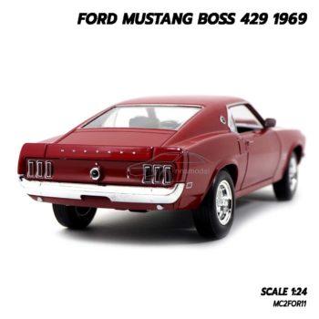โมเดลรถ FORD MUSTANG BOSS 429 1969 สีแดง (Scale 1/24) ไฟท้าย มัสแตง สวยๆ