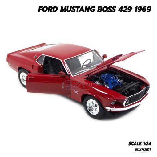 โมเดลรถ FORD MUSTANG BOSS 429 1969 สีแดง (Scale 1/24) เปิดฝากระโปรงหน้าได้