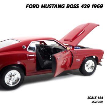 โมเดลรถ FORD MUSTANG BOSS 429 1969 สีแดง (Scale 1/24) เปิดประตูรถได้