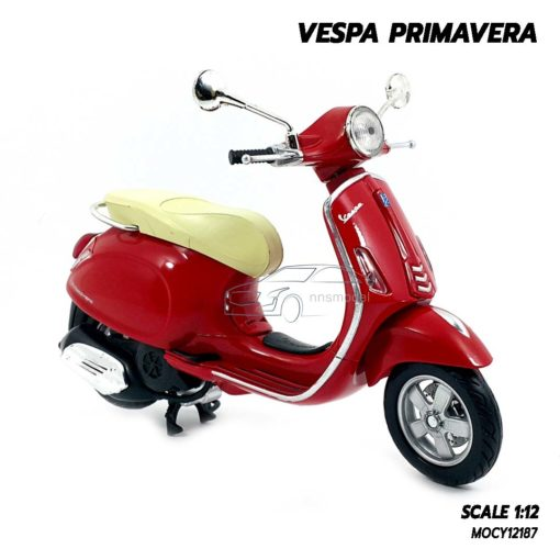 โมเดลเวสป้า VESPA PRIMAVERA สีแดง (Scale 1:12) โมเดลลิขสิทธิ ผลิตโดยแบรนด์ New Ray
