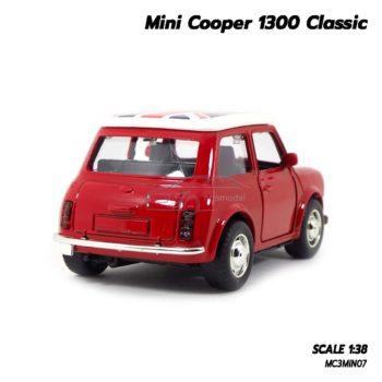 โมเดลรถมินิคูเปอร์ Mini Cooper 1300 Classic (1:38) หลังคาลายธงชาติอังกฤษ