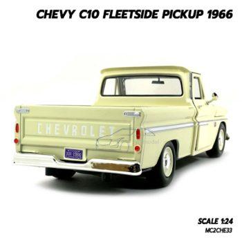 โมเดลรถ Chevy C10 FLEETSIDE PICKUP 1966 สีขาวครีม (Scale 1/24) รถคลาสสิค สวยๆ น่าสะสม