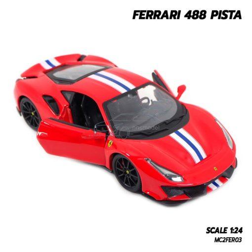โมเดลรถ FERRARI 488 PISTA (1:24) โมเดลประกอบสำเร็จ เปิดประตูรถซ้ายขวาได้