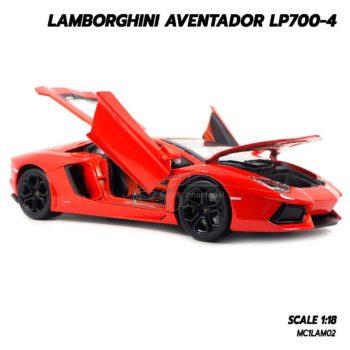 โมเดลรถ Lamborghini Aventador LP700-4 สีส้ม 1/18 เปิดประตูได้ครบ