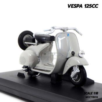 โมเดลเวสป้า VESPA 125CC สีเทา (1:18) โมเดลประกอบสำเร็จ พร้อมฐานตั้งโชว์