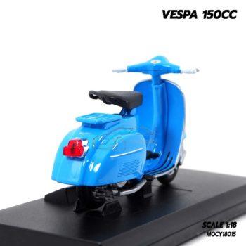 โมเดลรถเวสป้า VESPA 150CC สีฟ้า (1:18) โมเดลประกอบสำเร็จ พร้อมตั้งโชว์