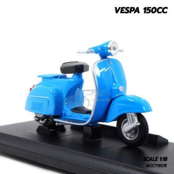 โมเดลรถเวสป้า VESPA 150CC สีฟ้า (1:18) โมเดลประกอบสำเร็จ จำลองเหมือนจริง