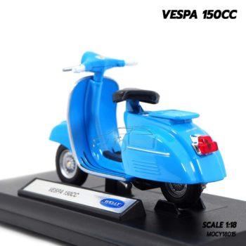 โมเดลรถเวสป้า VESPA 150CC สีฟ้า (1:18) โมเดลประกอบสำเร็จ ผลิตโดยแบรนด์ Welly